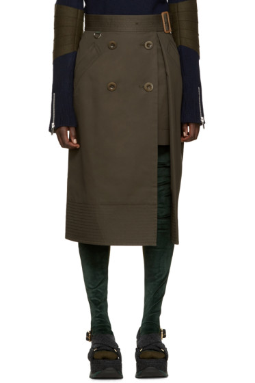 Sacai - Green Trench Wrap Skirt