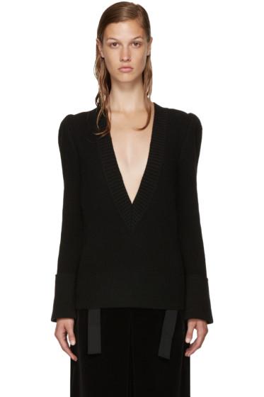 Sacai - Black Wool Belted Sweater