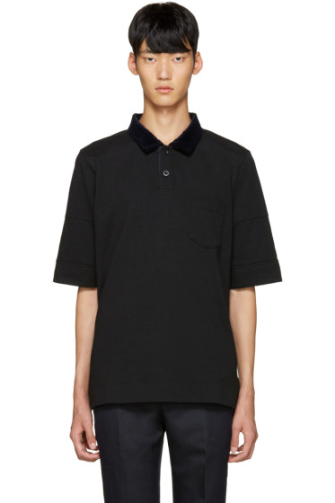 Sacai - Black Velvet Collar Polo