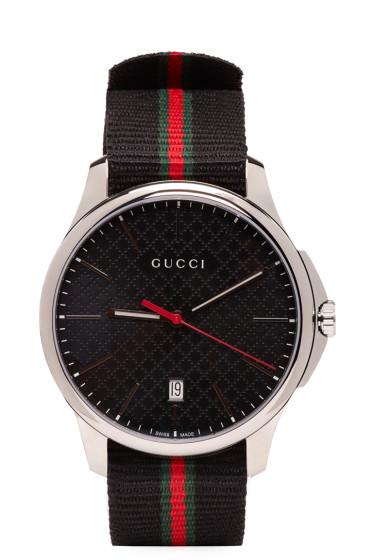 Gucci - Silver & Black G-Timeless Watch