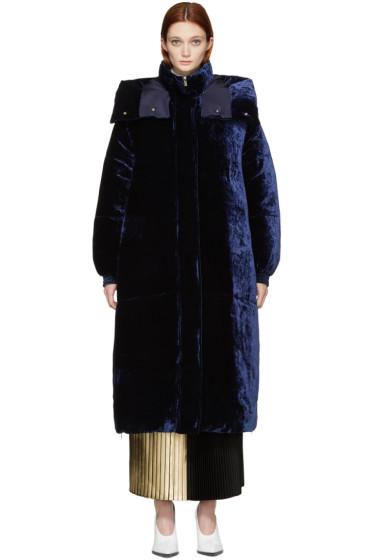 Stella McCartney - Navy Down Velvet Coat