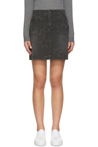 Stella McCartney - Black Denim Stars Miniskirt