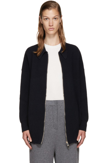 Stella McCartney - Navy Wool Zip-Up Cardigan