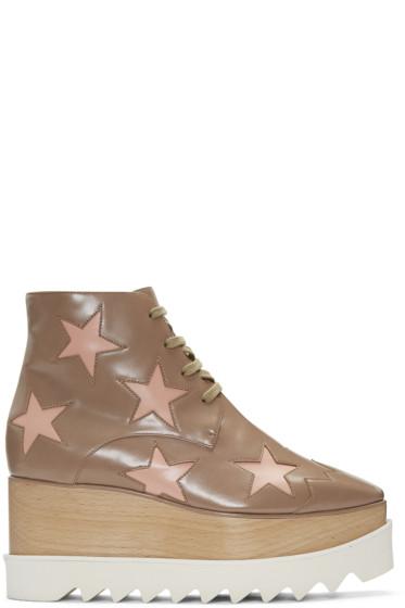 Stella McCartney - Taupe Platform Star Felik Boots