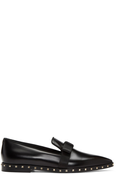 Valentino - Black Soul Stud Bow Loafers
