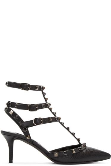 Valentino - Black Stone & Rockstud Cage Heels