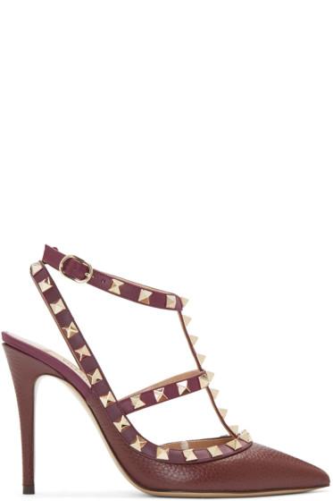 Valentino - Burgundy Rockstud Cage Heels