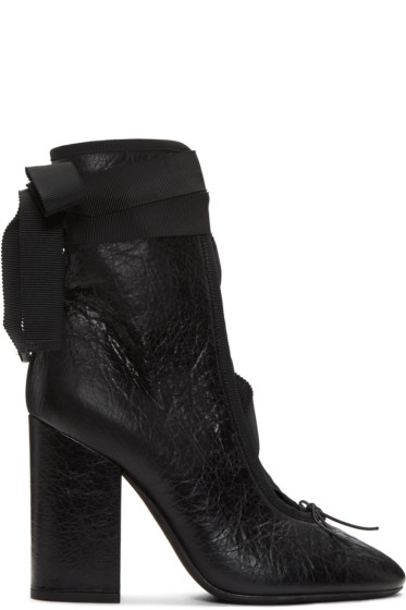 Valentino - Black Crackle Leather Lace-Up Heels