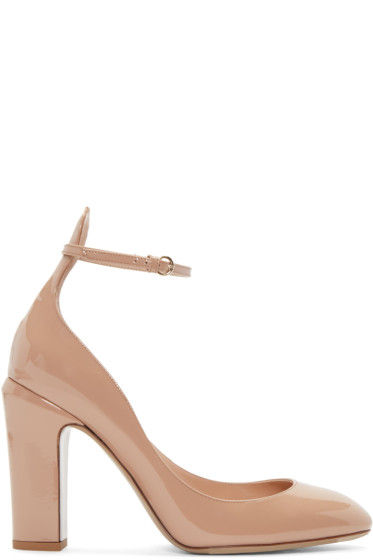 Valentino - Beige Patent Tall Tan-Go Mary Janes