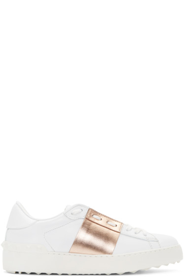 Valentino - White & Gold Open Sneakers