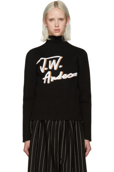 J.W.Anderson - Black Pleated Logo Sweater