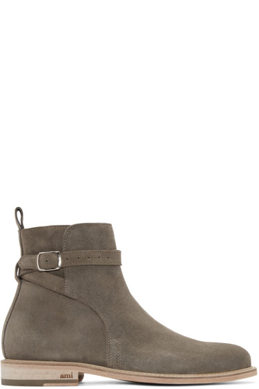 AMI Alexandre Mattiussi - SSENSE Exclusive Taupe Suede Buckle Boots