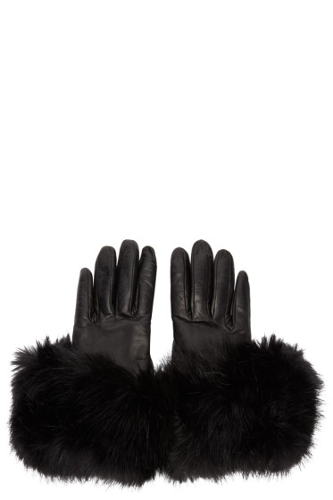 Calvin Klein Collection - Black Leather Flared Gloves
