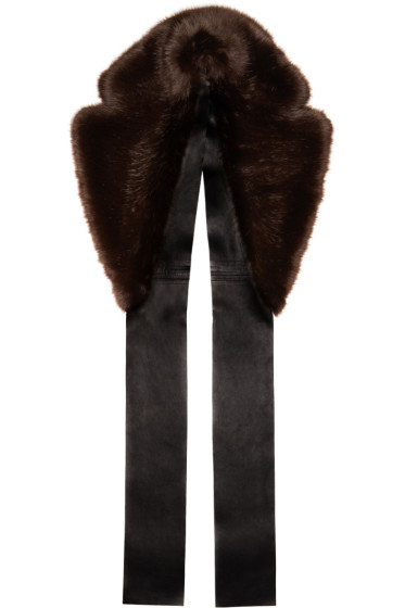 Calvin Klein Collection - Brown Faux-Fur & Leather Scarf