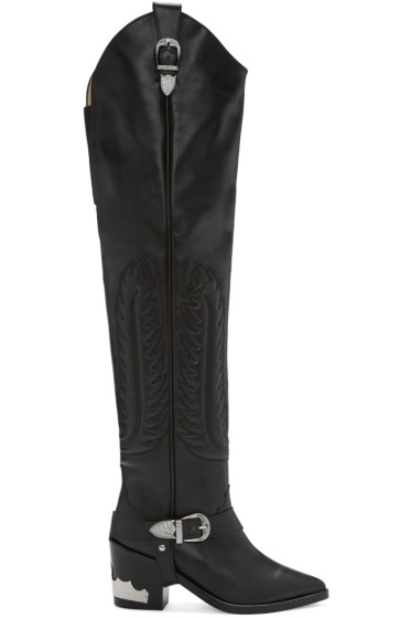 Toga Pulla - Black Western Over-the-Knee boots