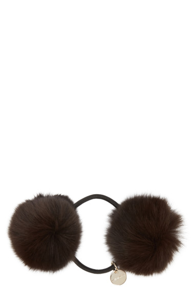 Yves Salomon - Brown Fur Pom Pom Hair Tie