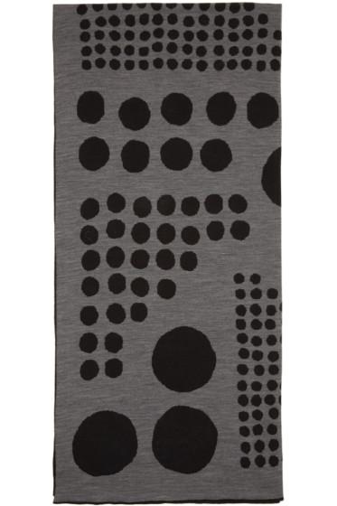 Kolor - Black & Grey Jacquard Graphic Scarf