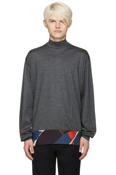 Kolor - Grey Silk Panel Sweater