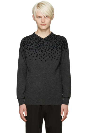 Kolor - Grey Leopard Print Sweater