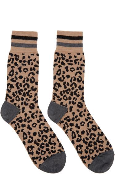 Kolor - Beige Leopard Print Socks