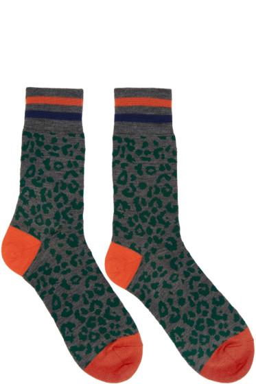 Kolor - Grey Leopard Print Socks