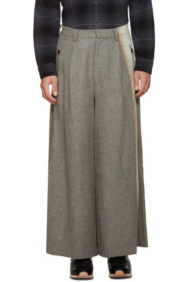 Facetasm - Grey Wool Wide-Leg Trousers