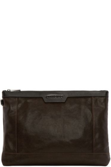 Jimmy Choo - Brown Leather Zip Pouch