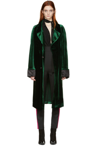 Haider Ackermann - Green Velvet Long Coat