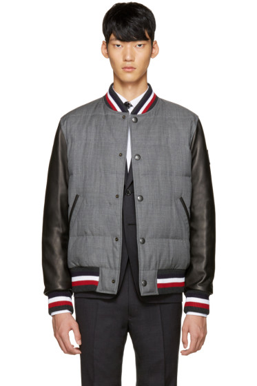 Moncler Gamme Bleu - Grey Leather Sleeve Bomber Jacket