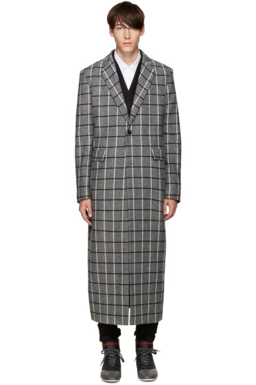 Pyer Moss - Grey Wool Check Coat