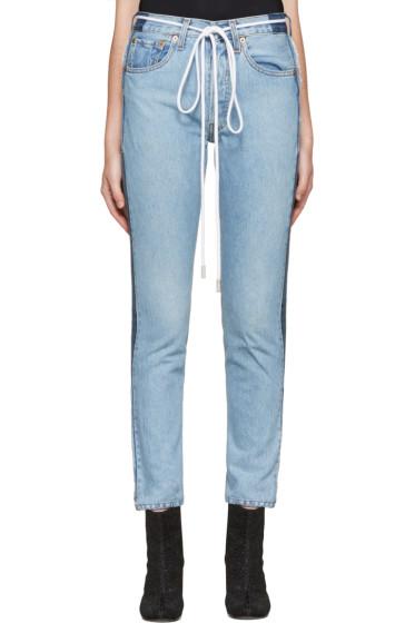 Off-White - SSENSE Exclusive Indigo Twig High Slim Join Jeans