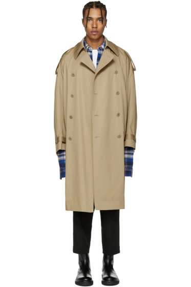 Lad Musician - Beige Double-Breasted Trench Coat