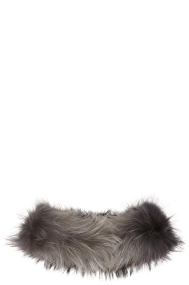 Yves Salomon - Black & Grey Raccoon Fur Collar Scarf