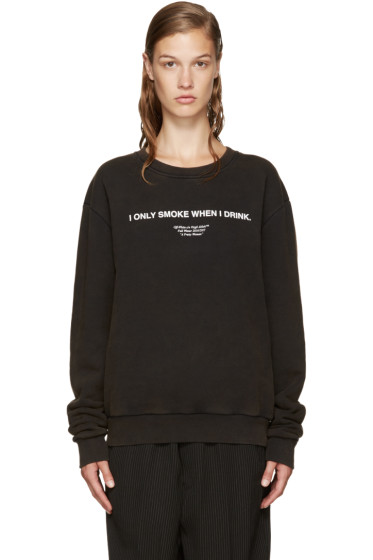 Off-White - Black 'I Only Smoke When I Drink' Pullover