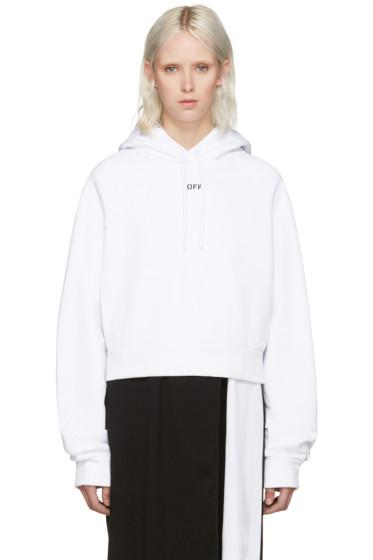 Off-White - White Cropped Logo Hoodie