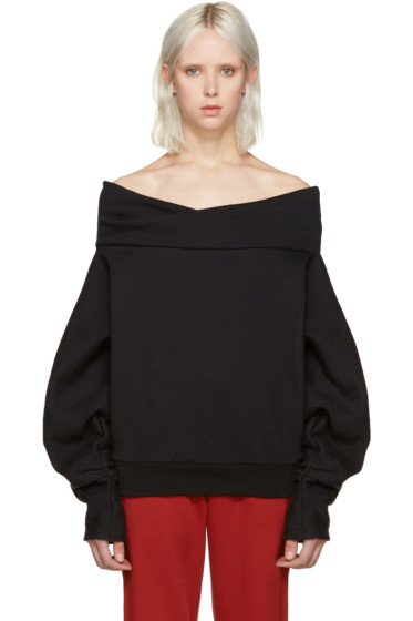 Off-White - Black Off-The-Shoulder Sweatshirt