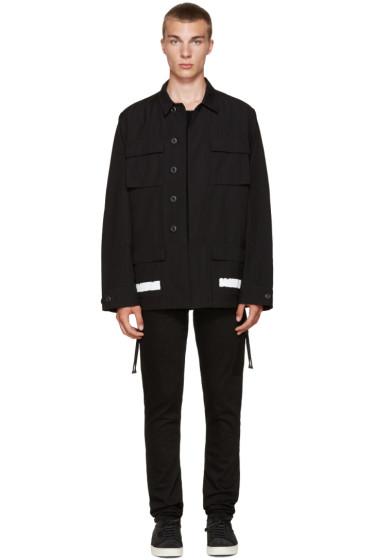 Off-White - Black Brushed Diagonals Sahariana Jacket