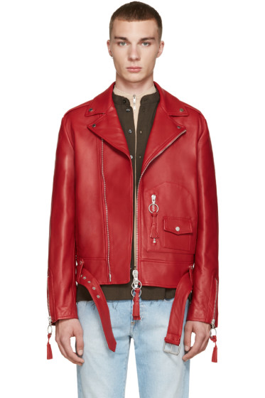 Off-White - Red Leather New Pocket Jacket