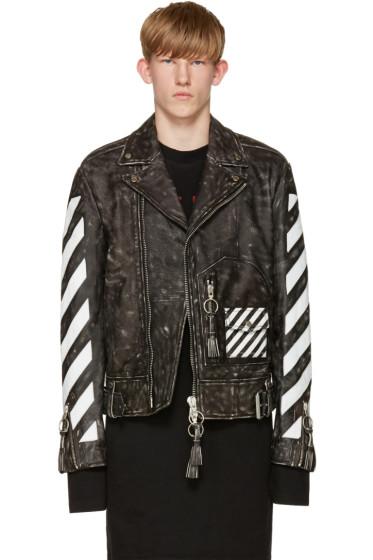 Off-White - Black & White Leather Biker Jacket