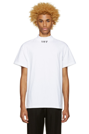 Off-White - White 'Off' Mock Neck T-Shirt