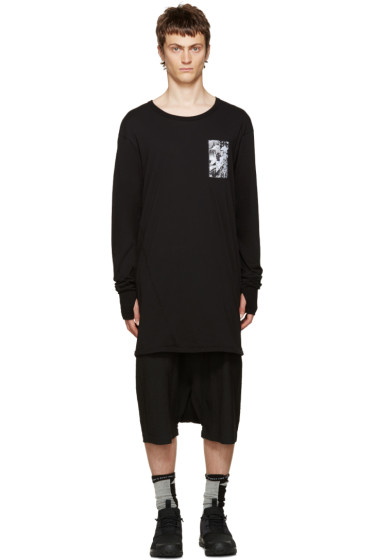 11 by Boris Bidjan Saberi - Black Asymmetric Back Print T-Shirt