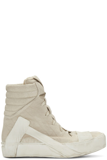 Boris Bidjan Saberi - Beige Distressed High-Top Sneakers