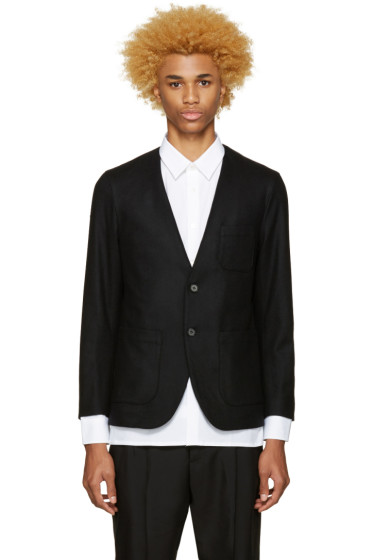 Undecorated Man - Black Wool Off-Lapel Blazer