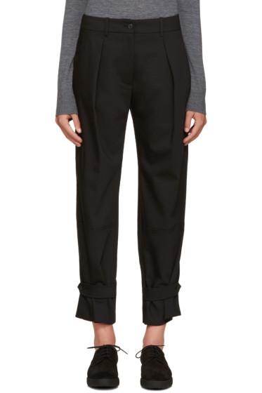 Jil Sander Navy - Black Wide-Leg Pleated Trousers