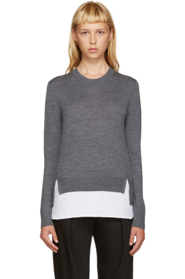 Jil Sander Navy - Grey Shirt Hem Sweater
