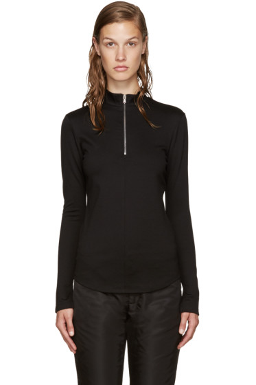 Nomia - Black Zip Mock Neck T-Shirt