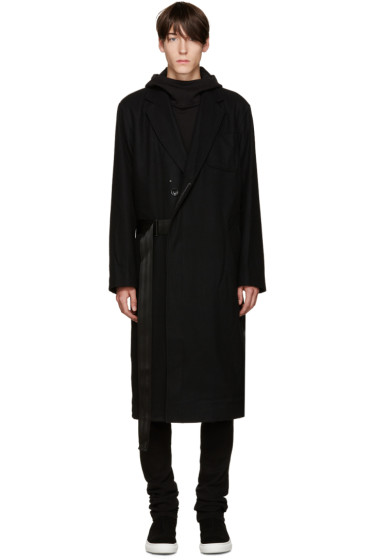 D by D - Black Seatbelt Strap Coat