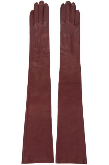 Erdem - Burgundy Long Leather Gloves