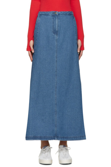 SJYP - Blue Denim Flared Skirt