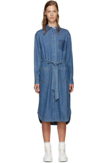 SJYP - Blue Denim Belted Shirt Dress